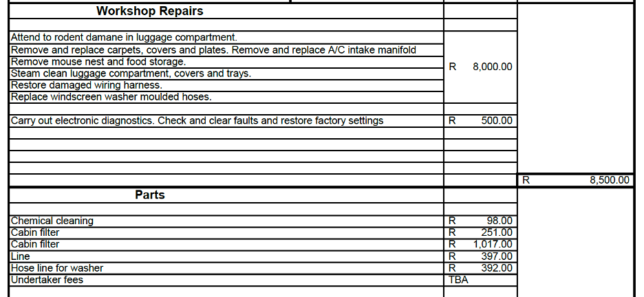 RS Autosport Rat Damage Invoice